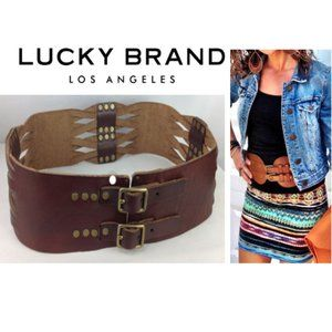 [Lucky Brand] Wide Braided Leather Boho Belt 28""